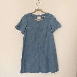 Madewell - Chambray dress, ruffled short sleeves